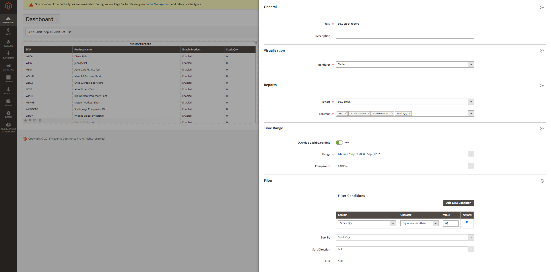 Low Stock widget configuration