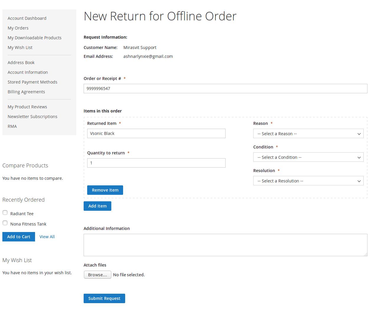 Offline RMA Form
