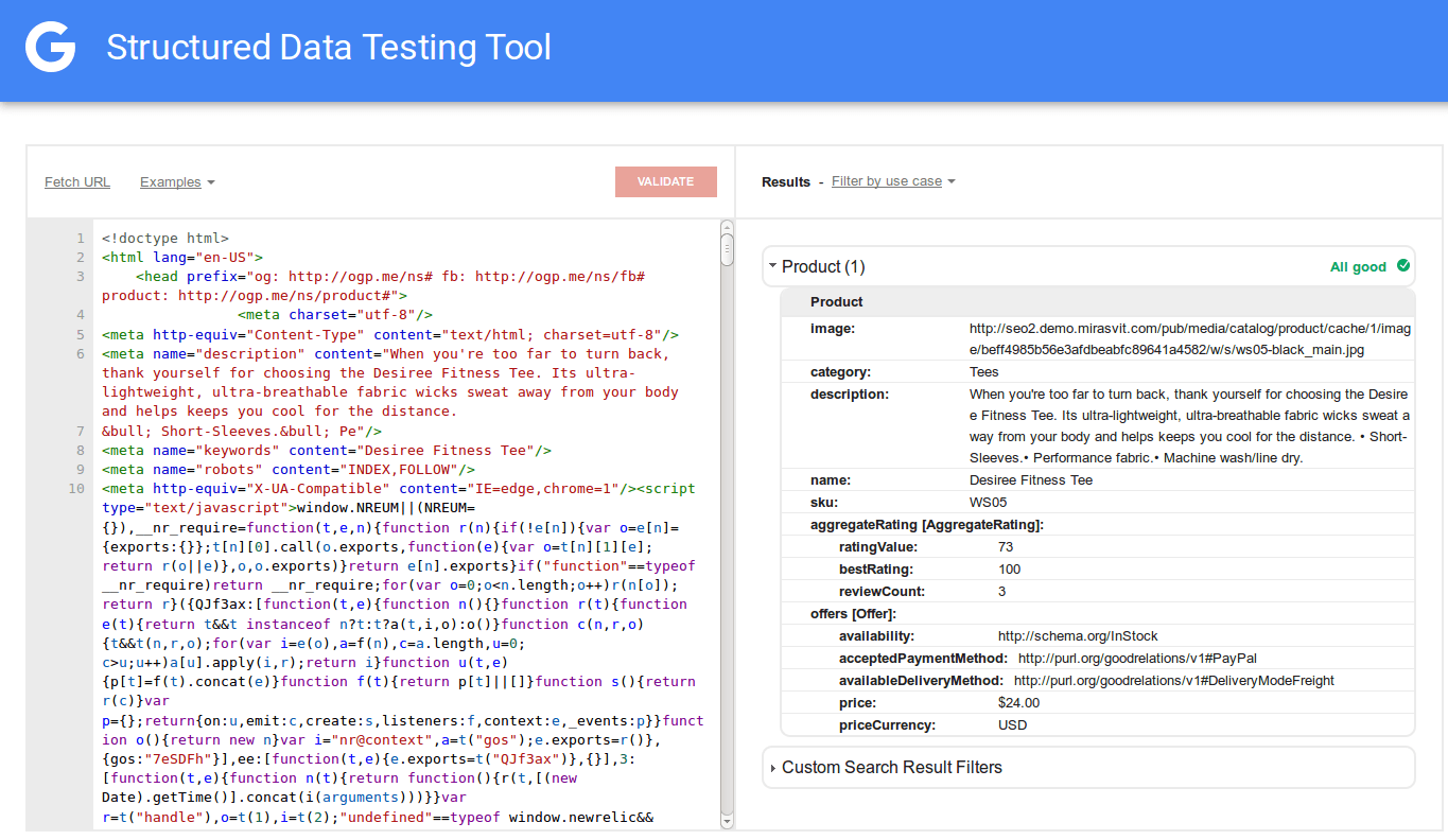 Google structured data testing tool rich snippets in Magento 2