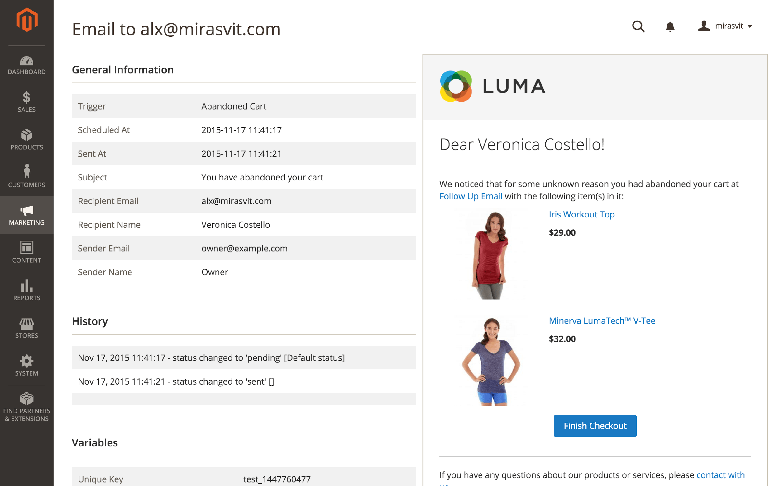 Example of abandoned cart reminder with Follow Up Emails extension