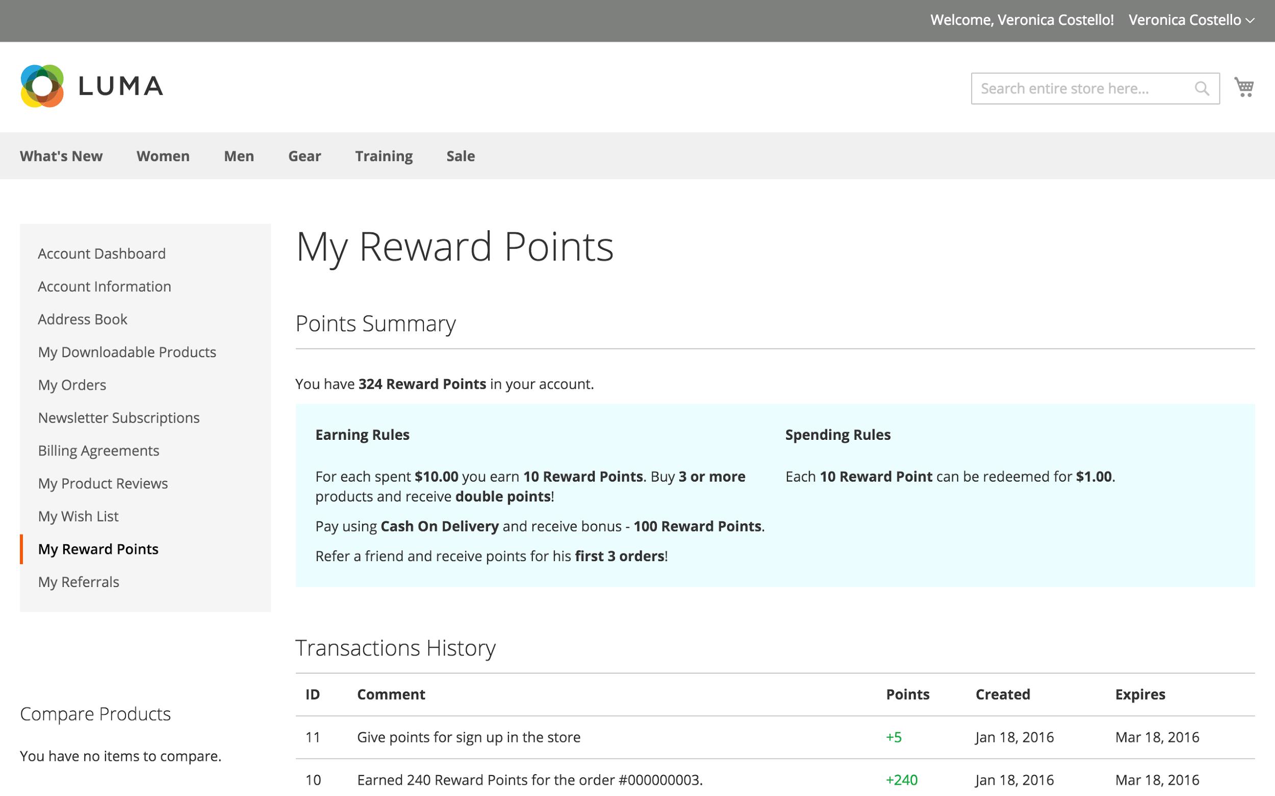 Reward points dashboard in customer's account interface.
