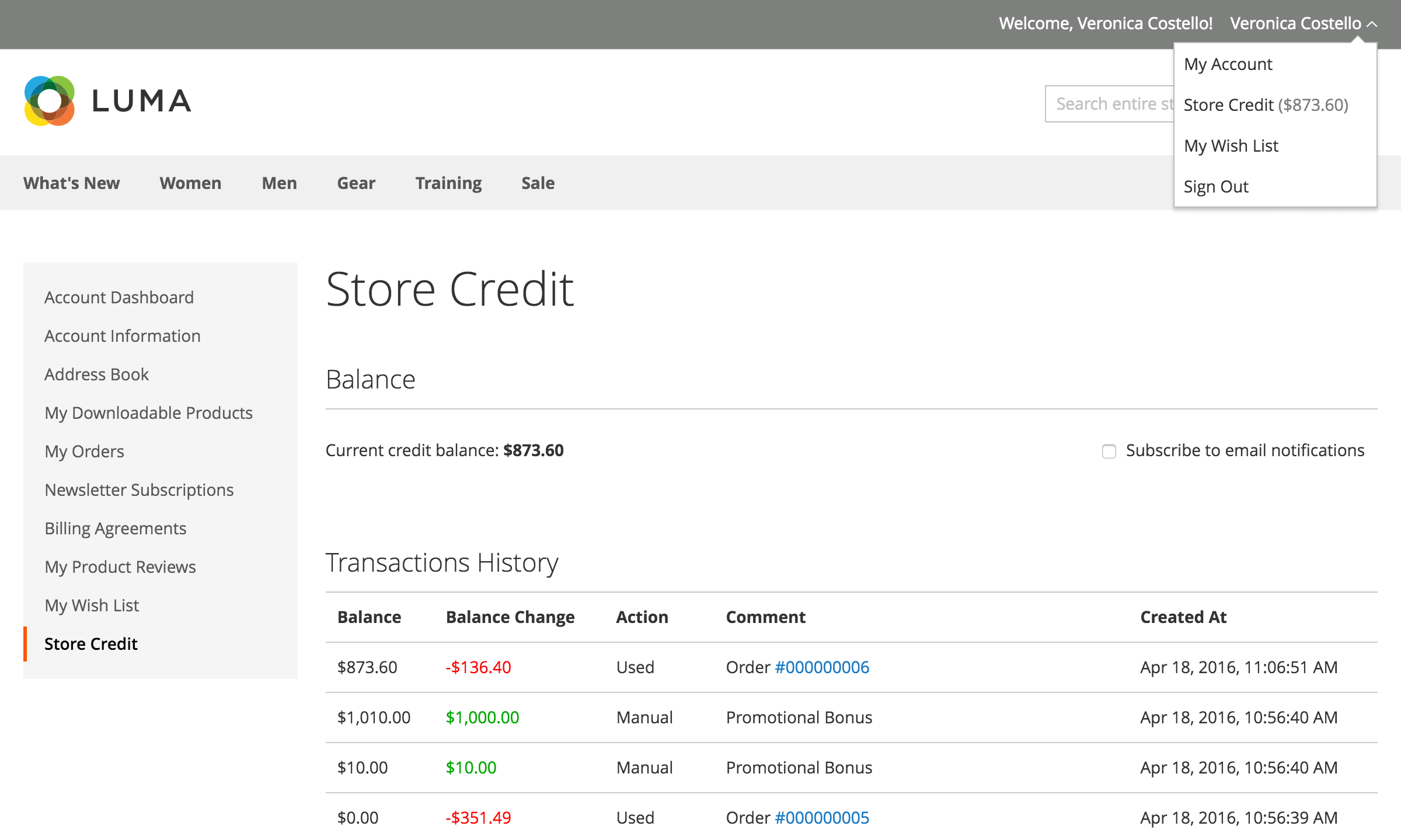 Customer Store Credit Account History