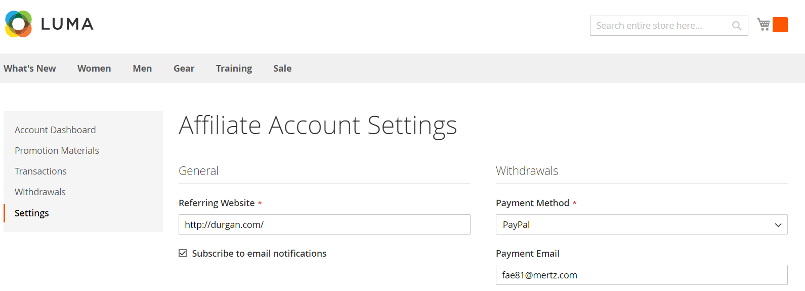 Affiliate Account Settings