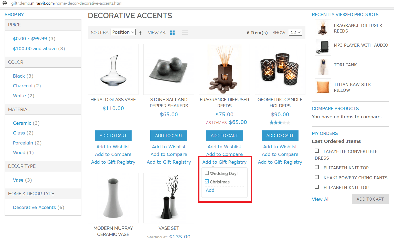 Adding items to gift registry