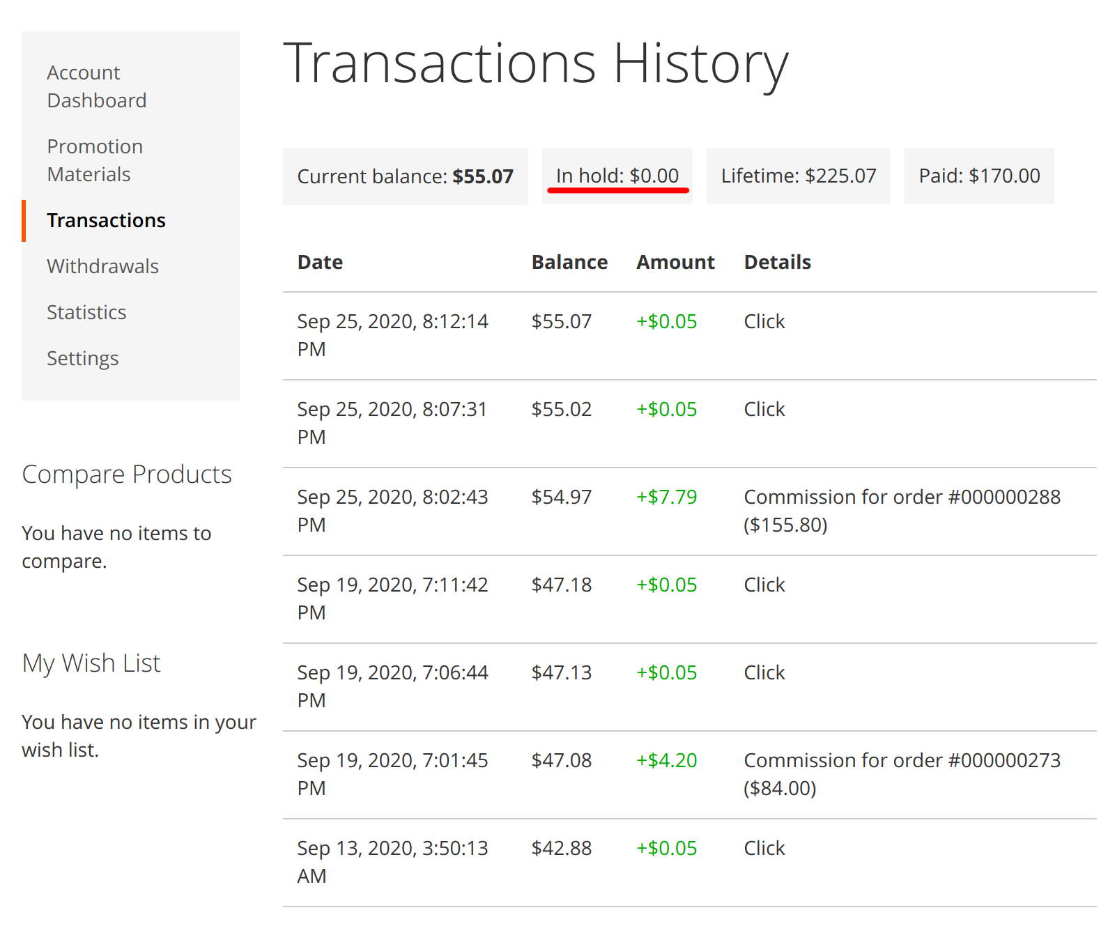 Commissions in hold period shown in Mirasvit Affiliate module's frontend Transaction History tab