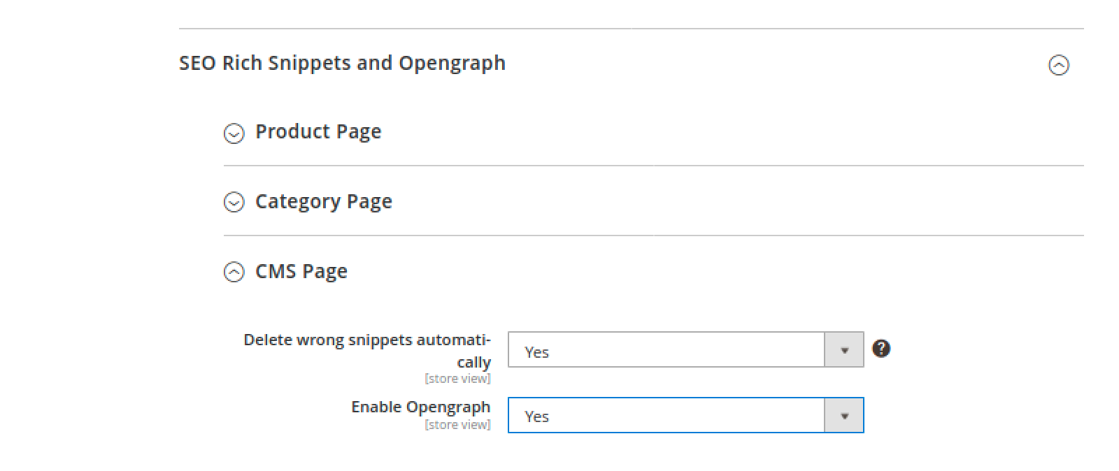 Opengraph toggle for CMS page in Mirasvit Advanced SEO Suite
