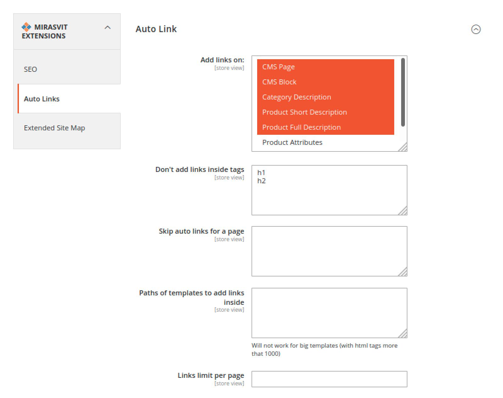 Auto Links tab in Mirasvit Advanced SEO Suite's Configuration menu