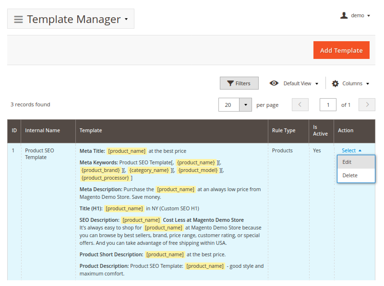 Mirasvit Advanced SEO Suite's Template Manager page