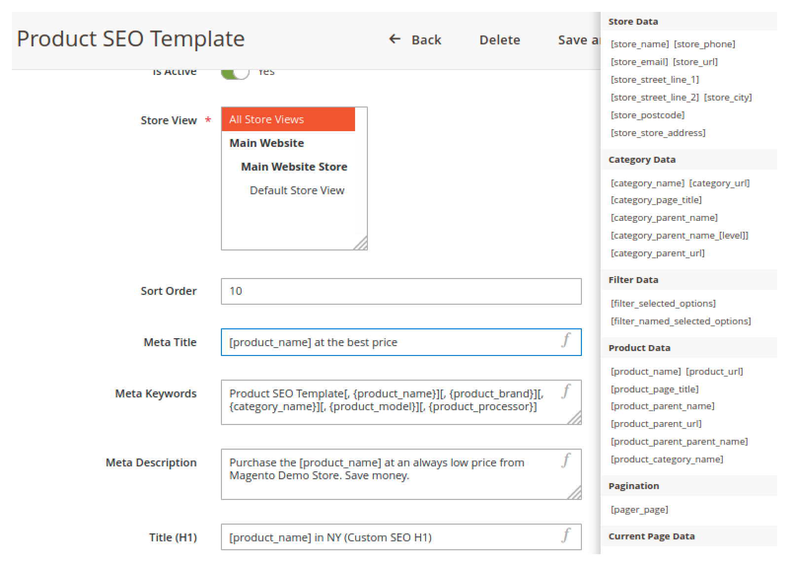 Template variables in Mirasvit Advanced SEO Suite