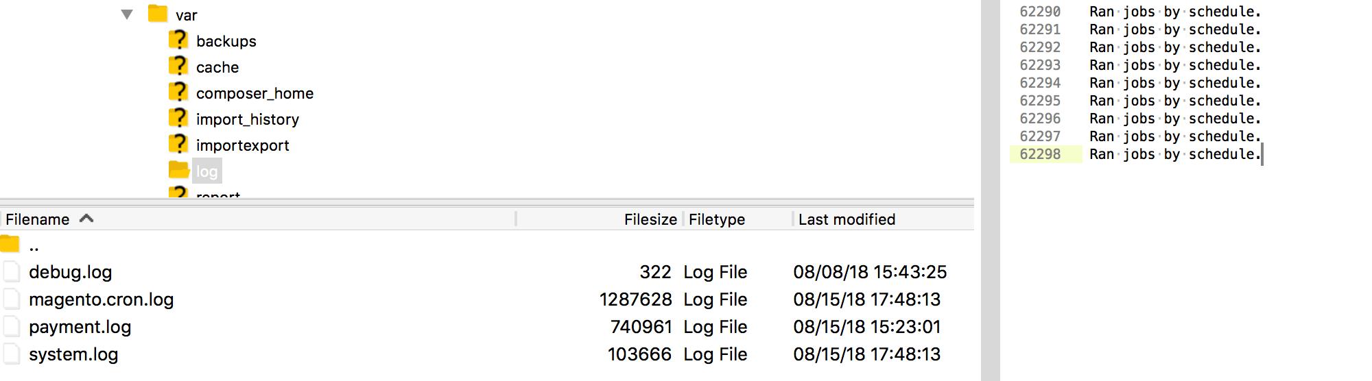 Magento 2 Cron Log File