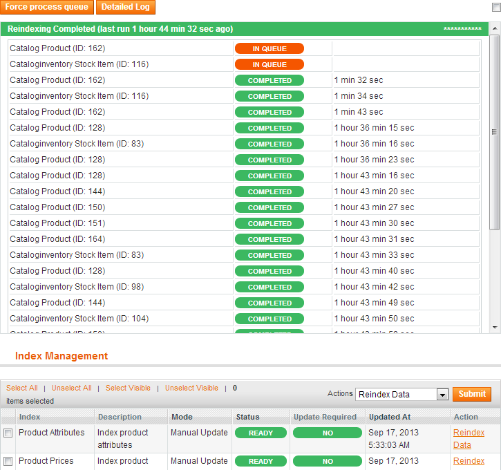 System / Index Management - Reindex Queue