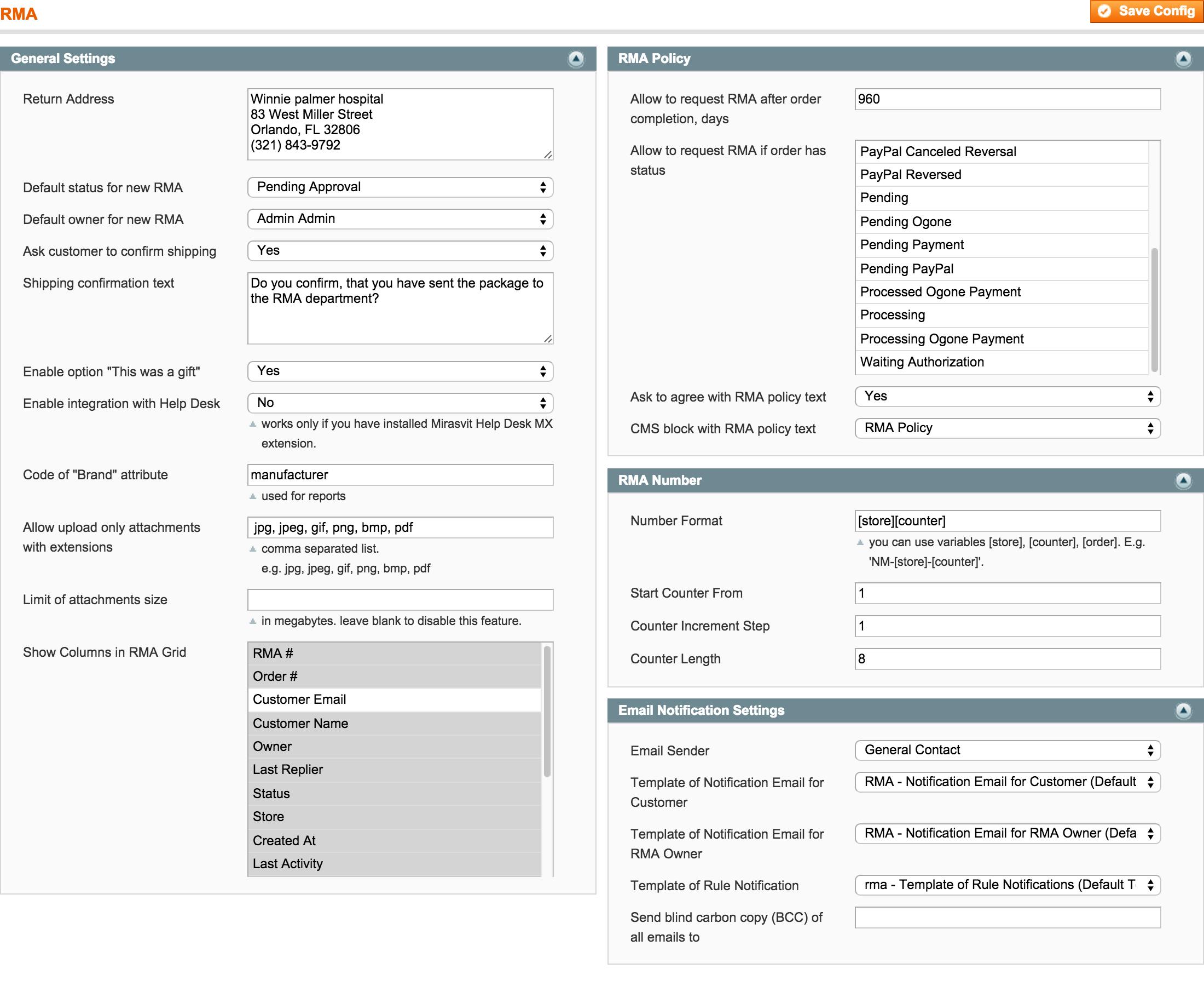 RMA Backend - General Configuration