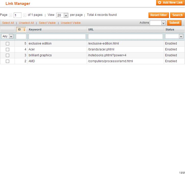 Link Manager List