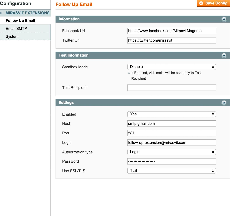 Configuration - Follow Up Magento
