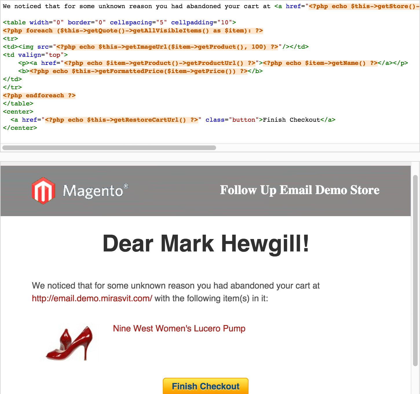 Template Live Preview - Magento Follow-Up Email