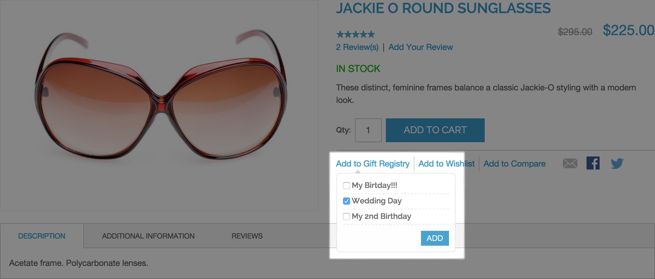 Add to Registry -  Gift Registry