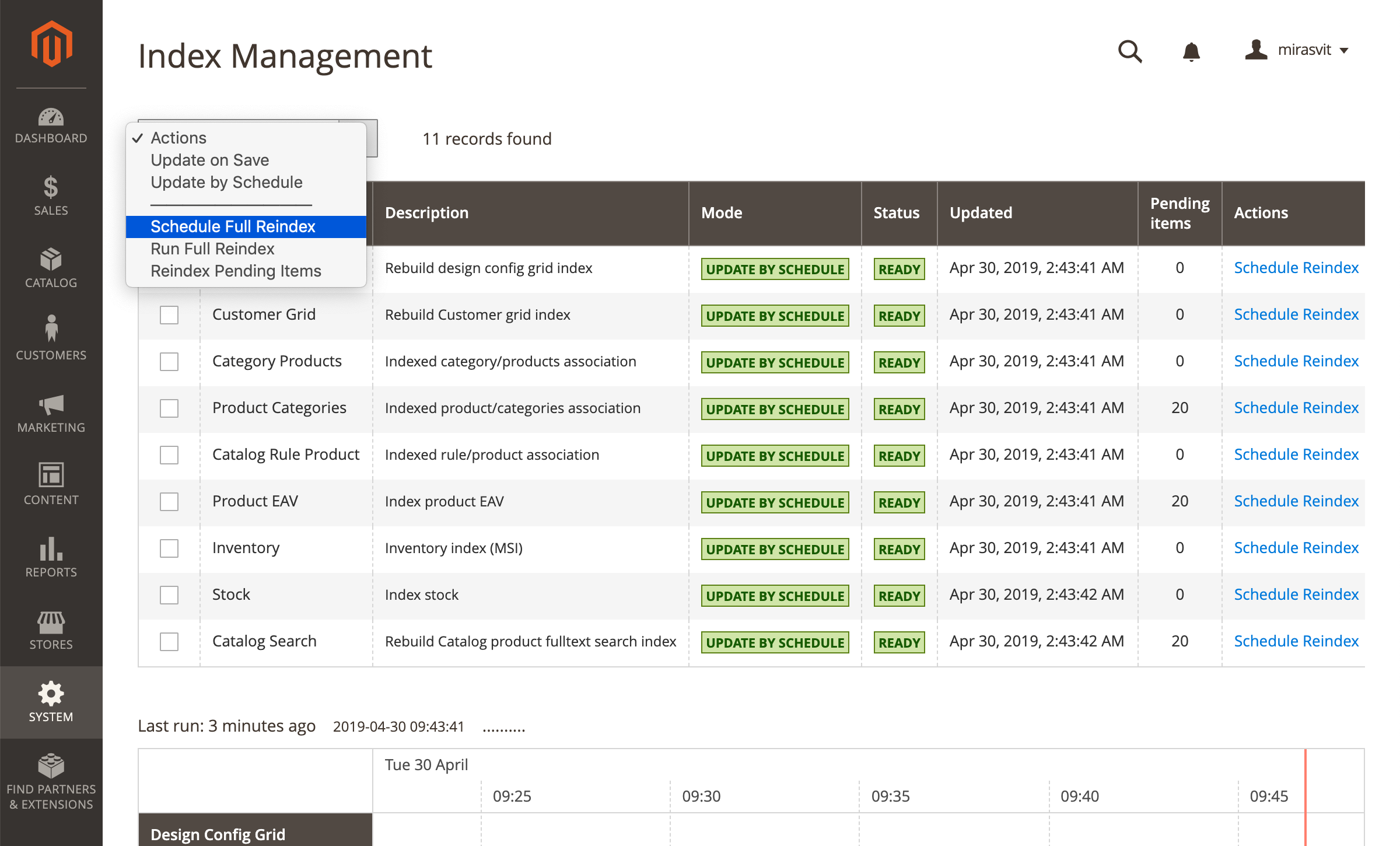 Reindex from Magento 2 Backend