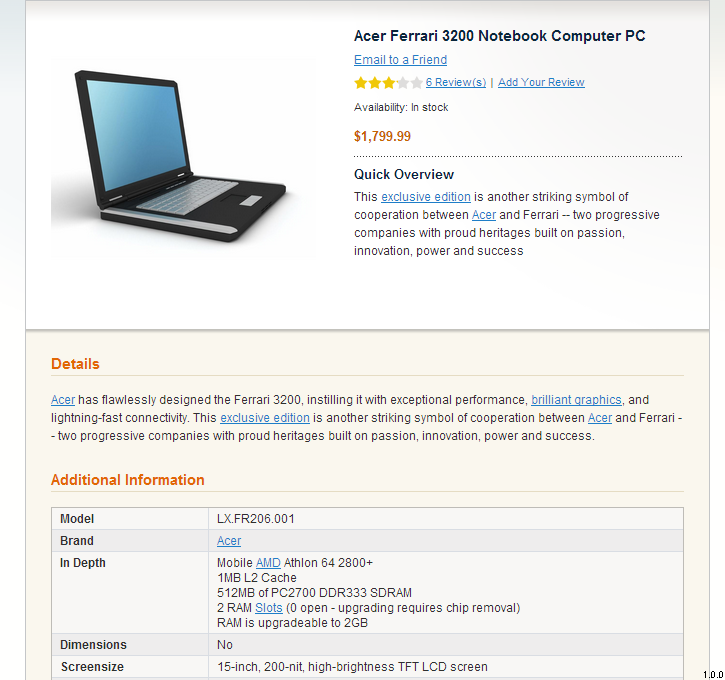Internal Links: Product Page