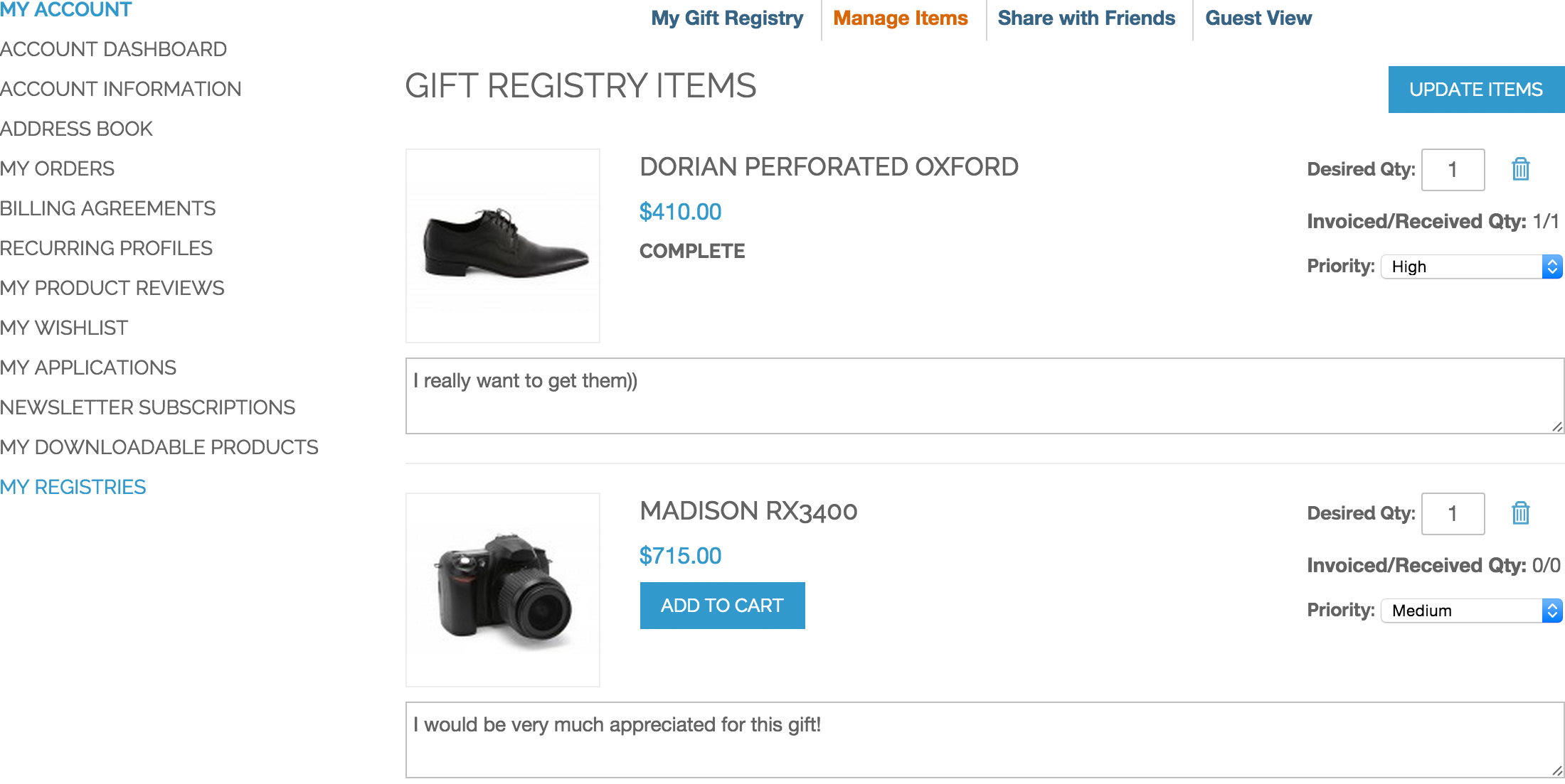 Manage Items -  Gift Registry