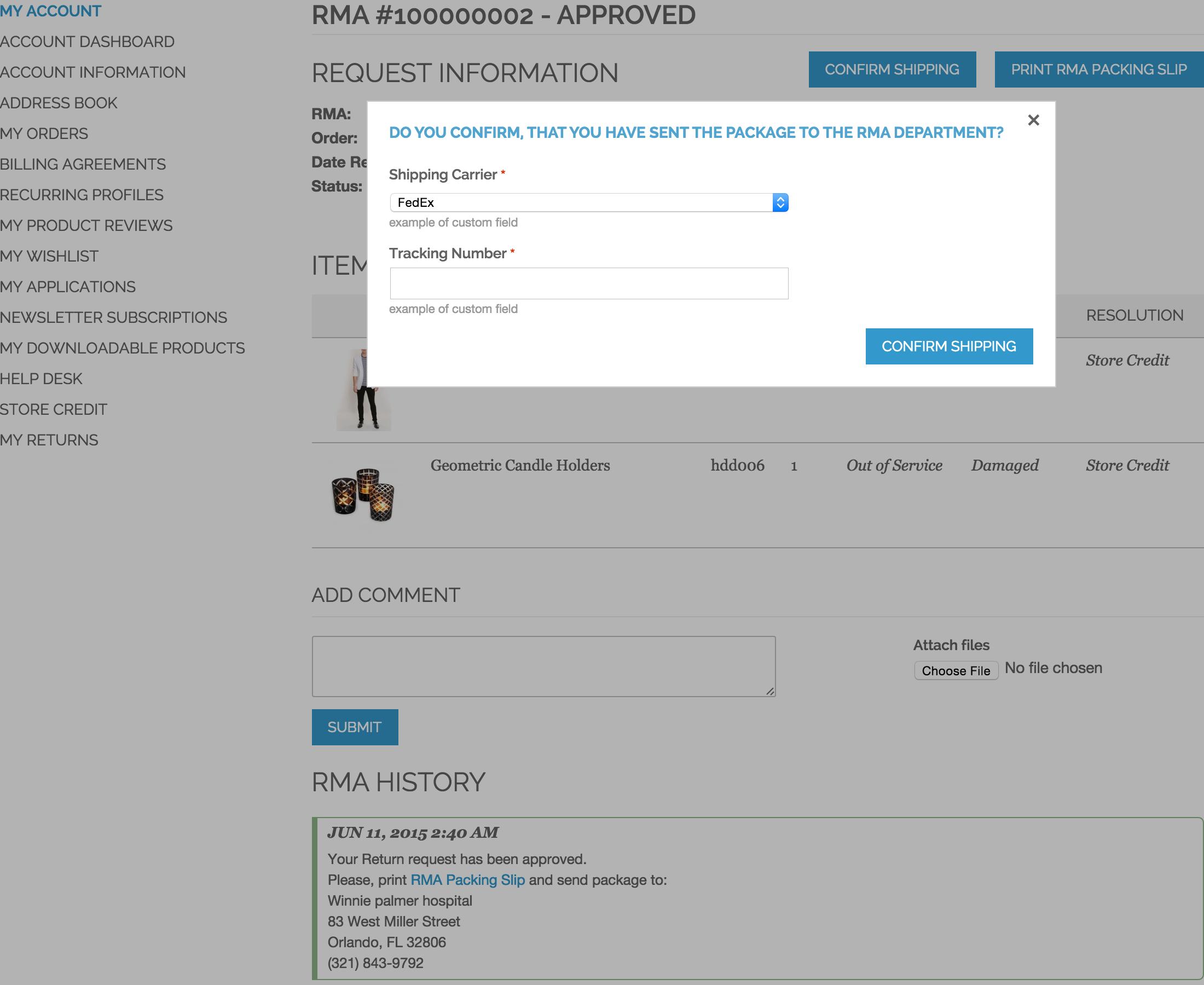 Customer RMA - Sent Confirmaiton