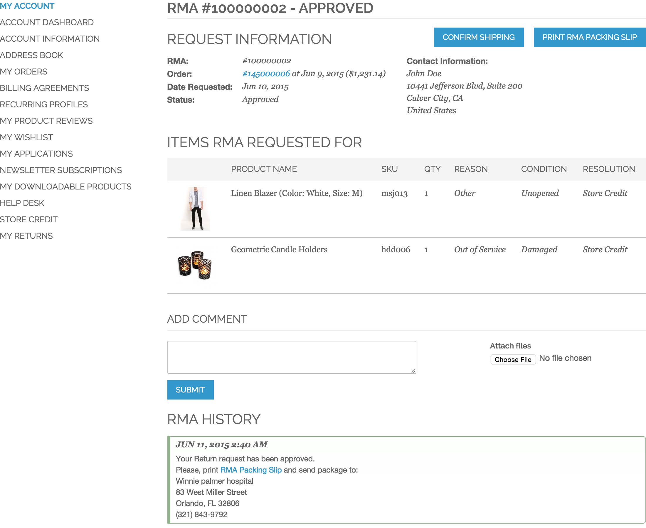 Customer RMA - View