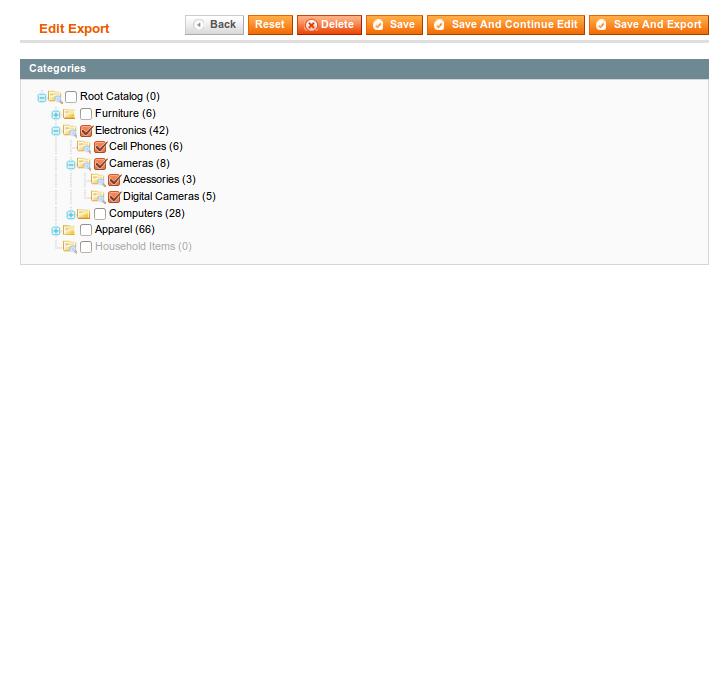 Yandex Export settings