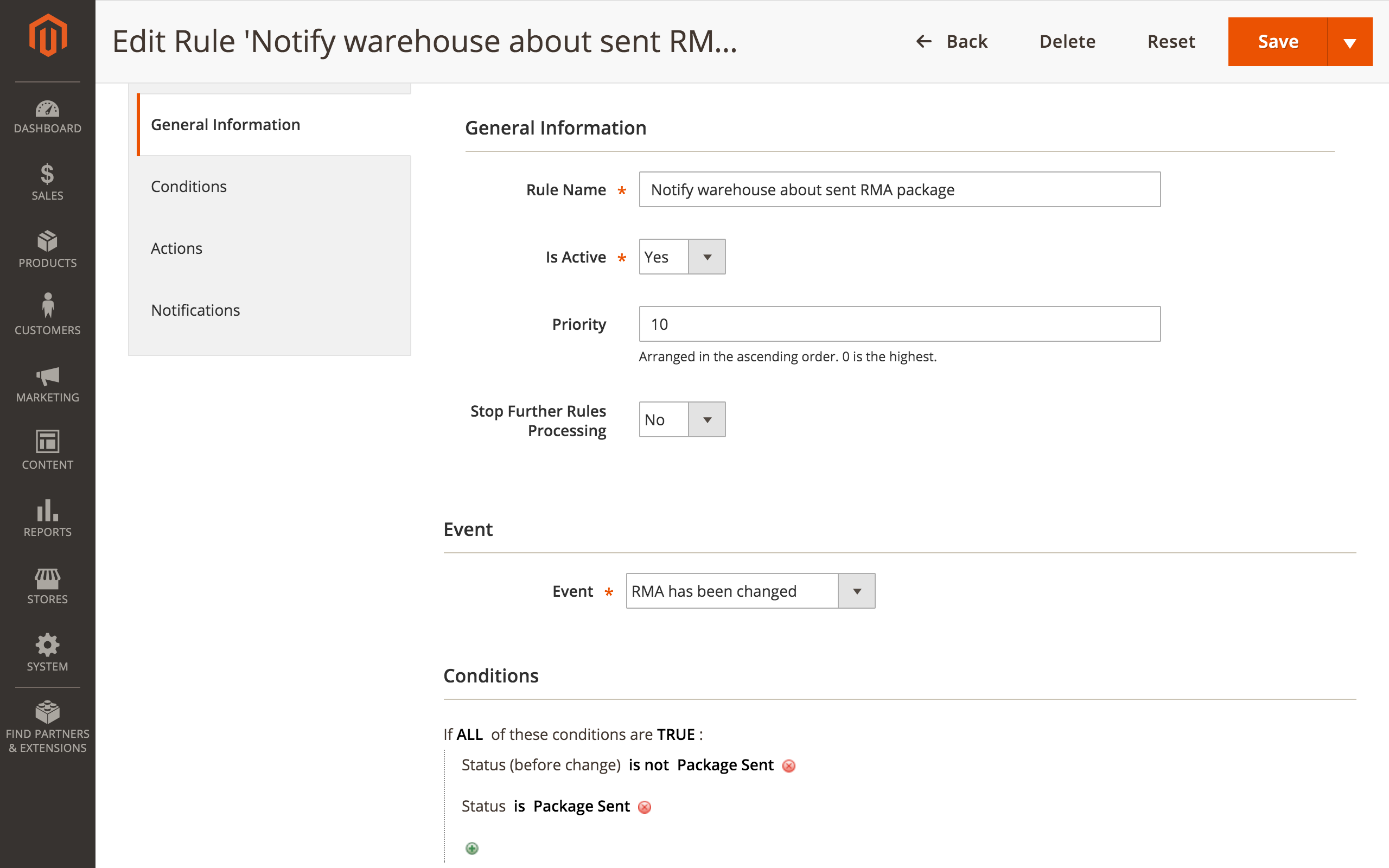 magento 2 rma workflow rules