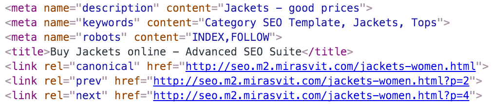 magento 2 canonical tags