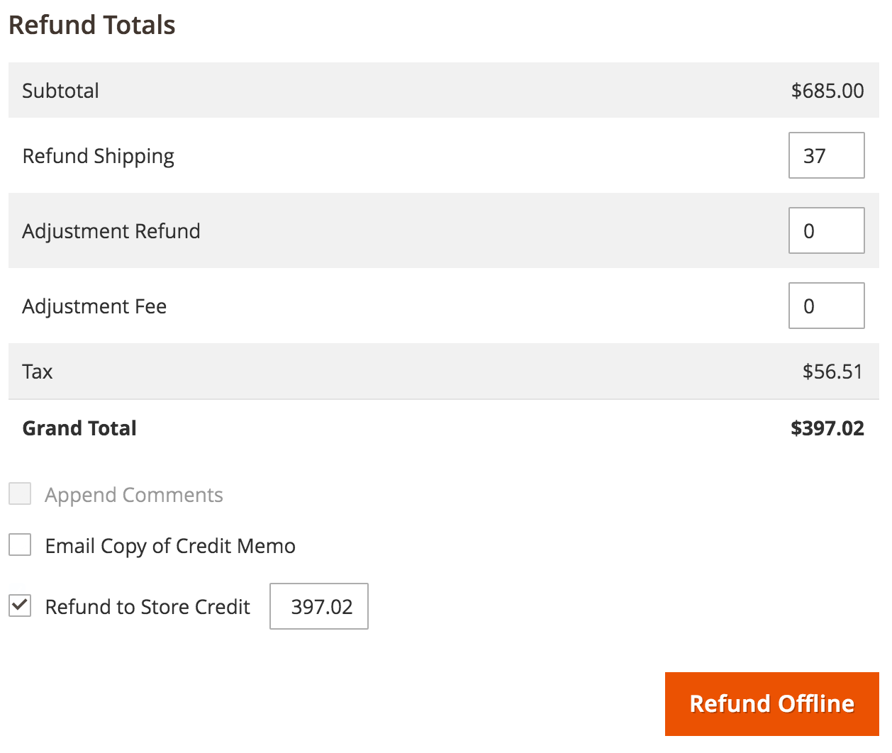 magento 2 refund to credit