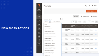 A list of new mass actions in Mirasvit Product Mass Action Magento 2 module