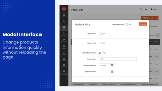 Modal interface example in Mirasvit Magento 2 Mass Product Update module