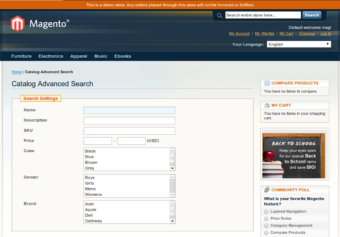 magento advanced search
