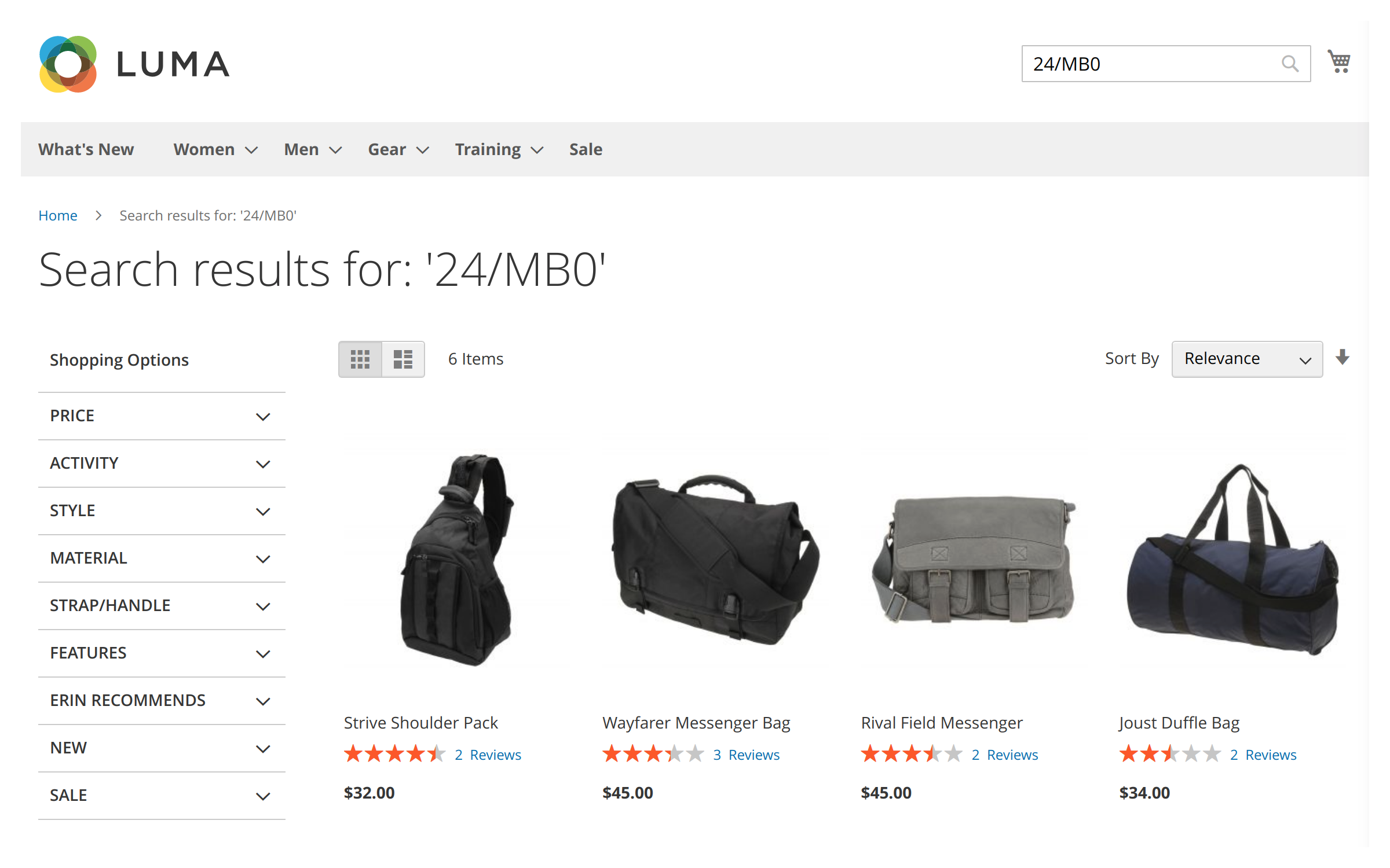 An example of a search query taking advantage of long tail search feature in Mirasvit Magento 2 search modules.