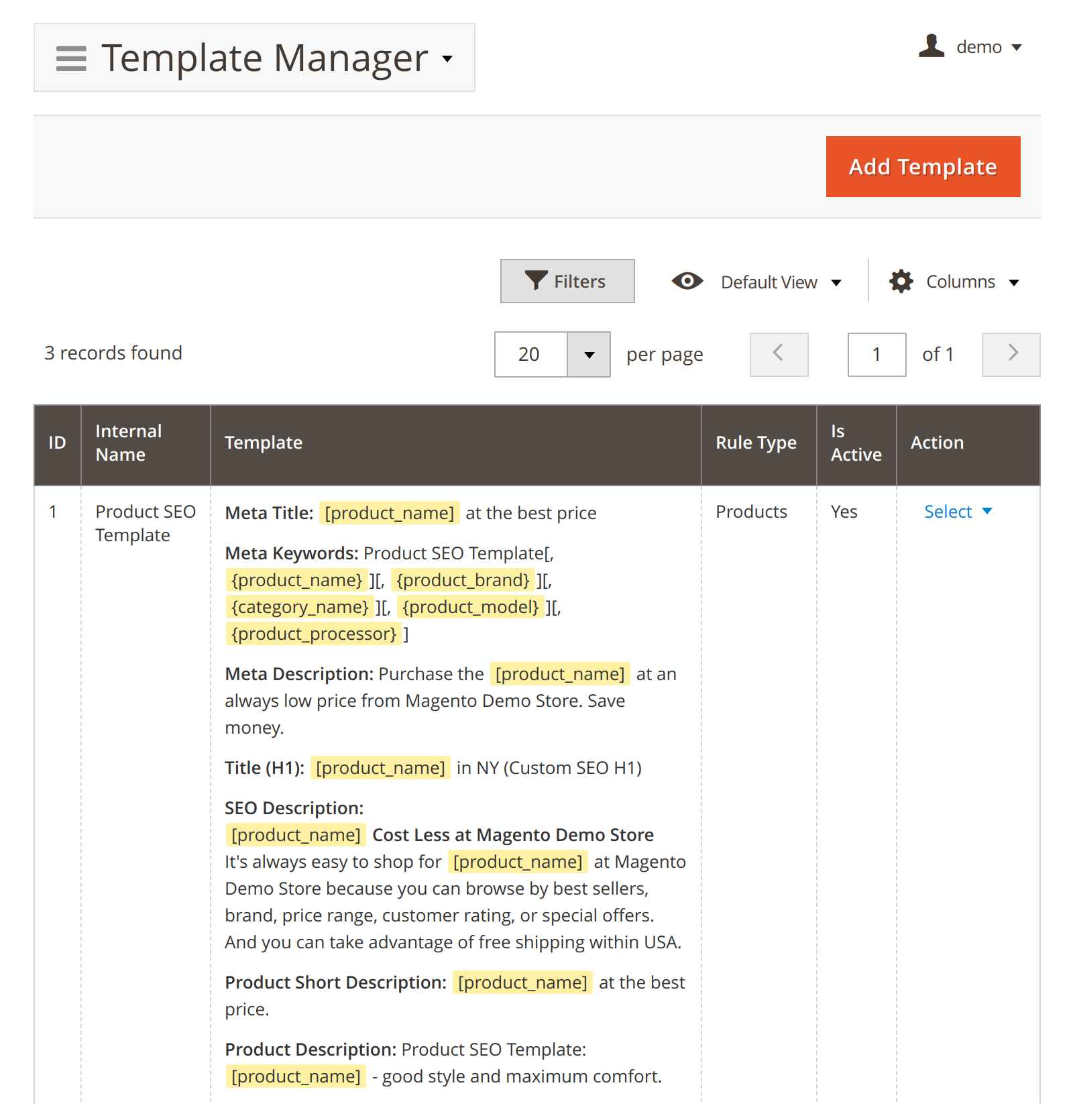 Meta Tag Template in Mirasvit Advanced SEO Suite module for Magento 2