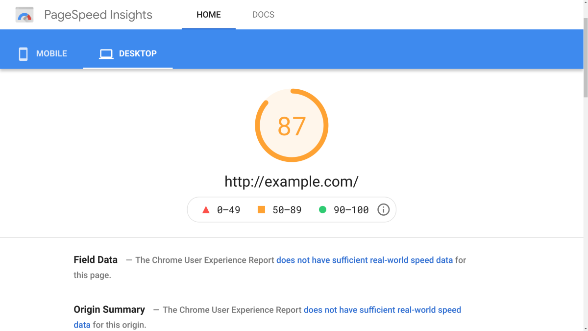 Pagespeed Insight Desktop Results