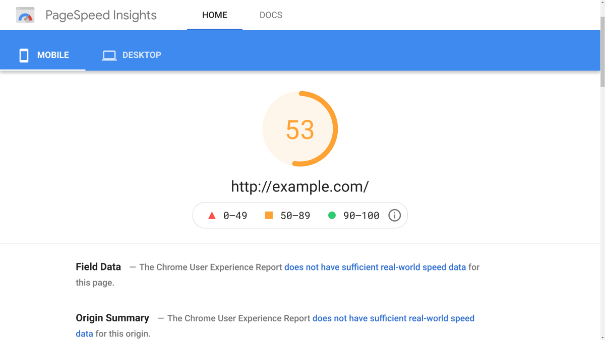 Pagespeed Insight Mobile Results