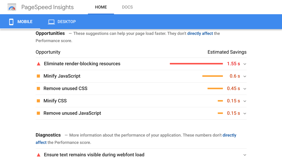 Pagespeed Insights Mobile Suggestions