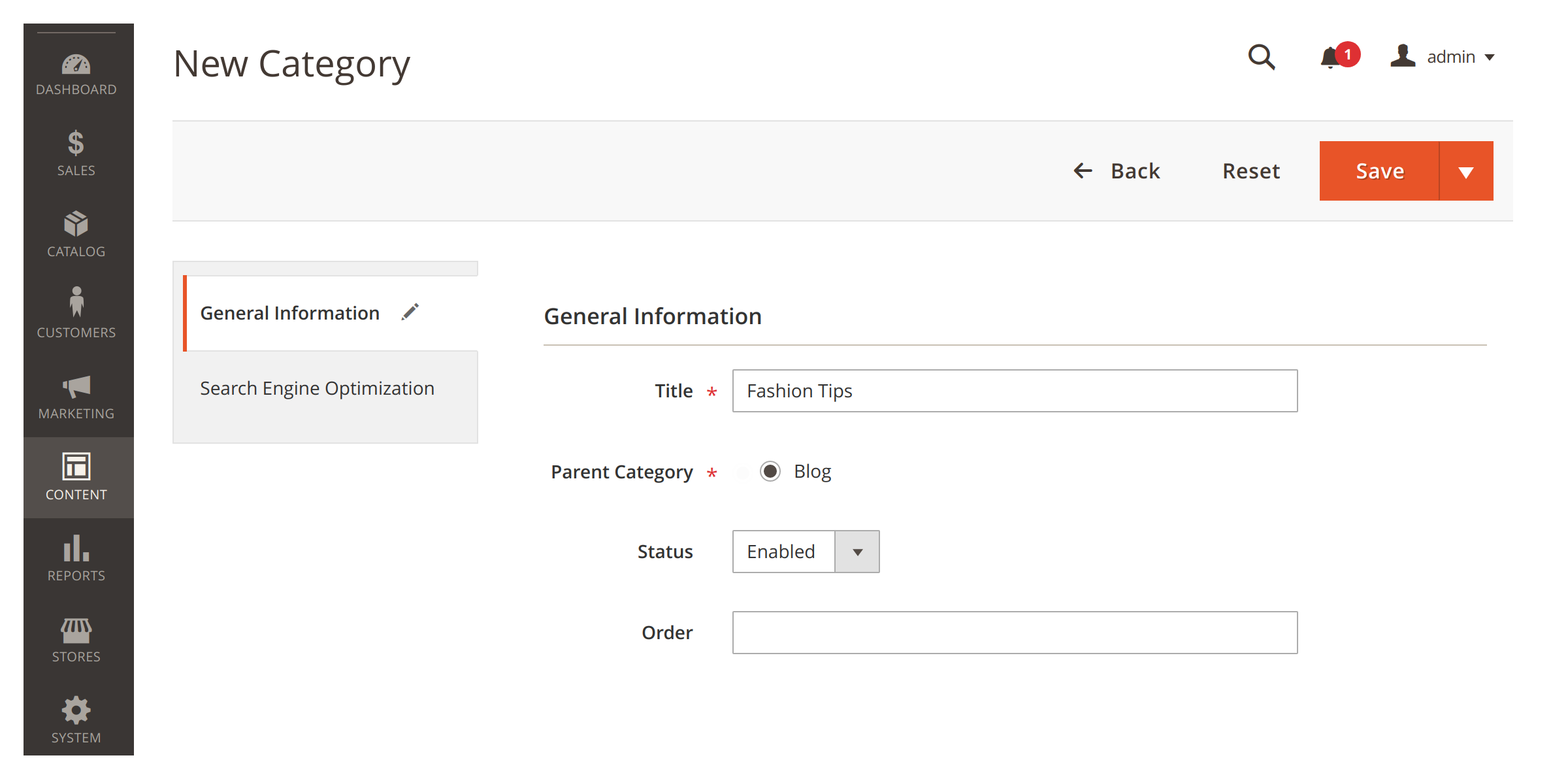 Creating a category in Mirasvit Magento 2 Blog MX module.