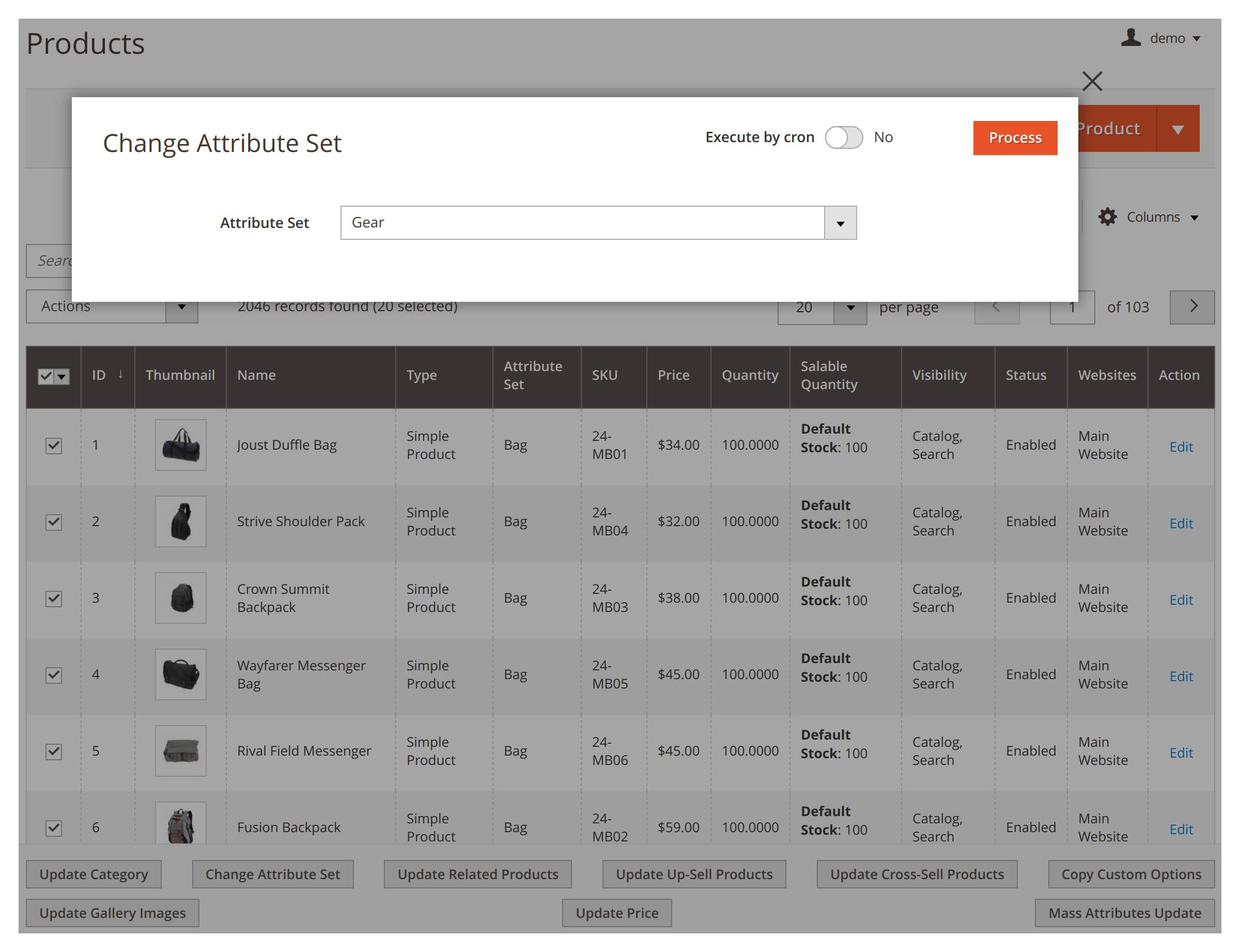 Changing attribute set in bulk in Mirasvit Mass Product Actions Magento 2 module.