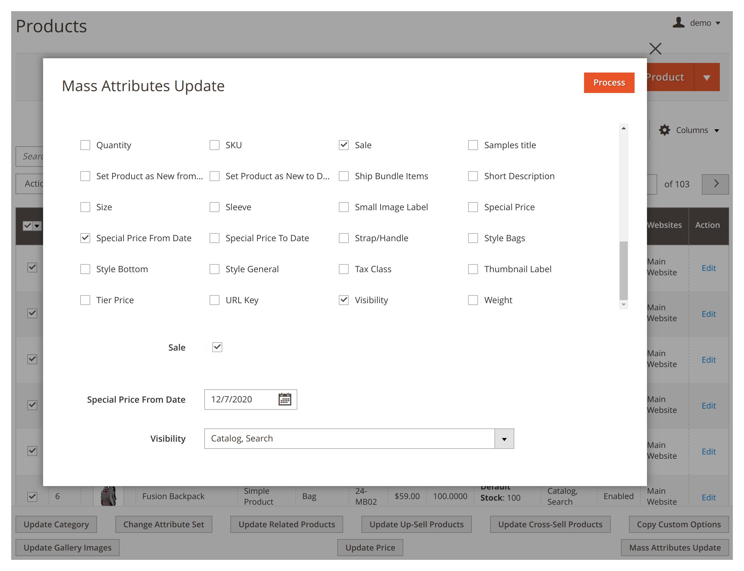 Editing attributes in bulk in Mirasvit Mass Product Actions Magento 2 extension.
