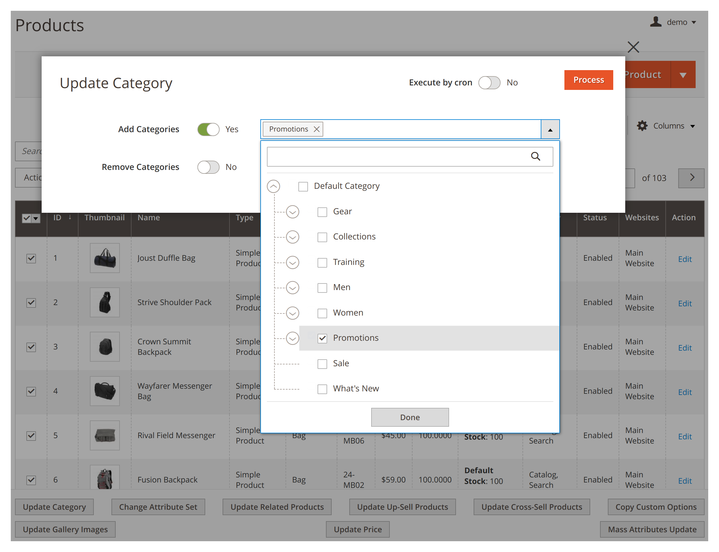 Changing categories in bulk in Mirasvit Mass Product Actions Magento 2 extension.