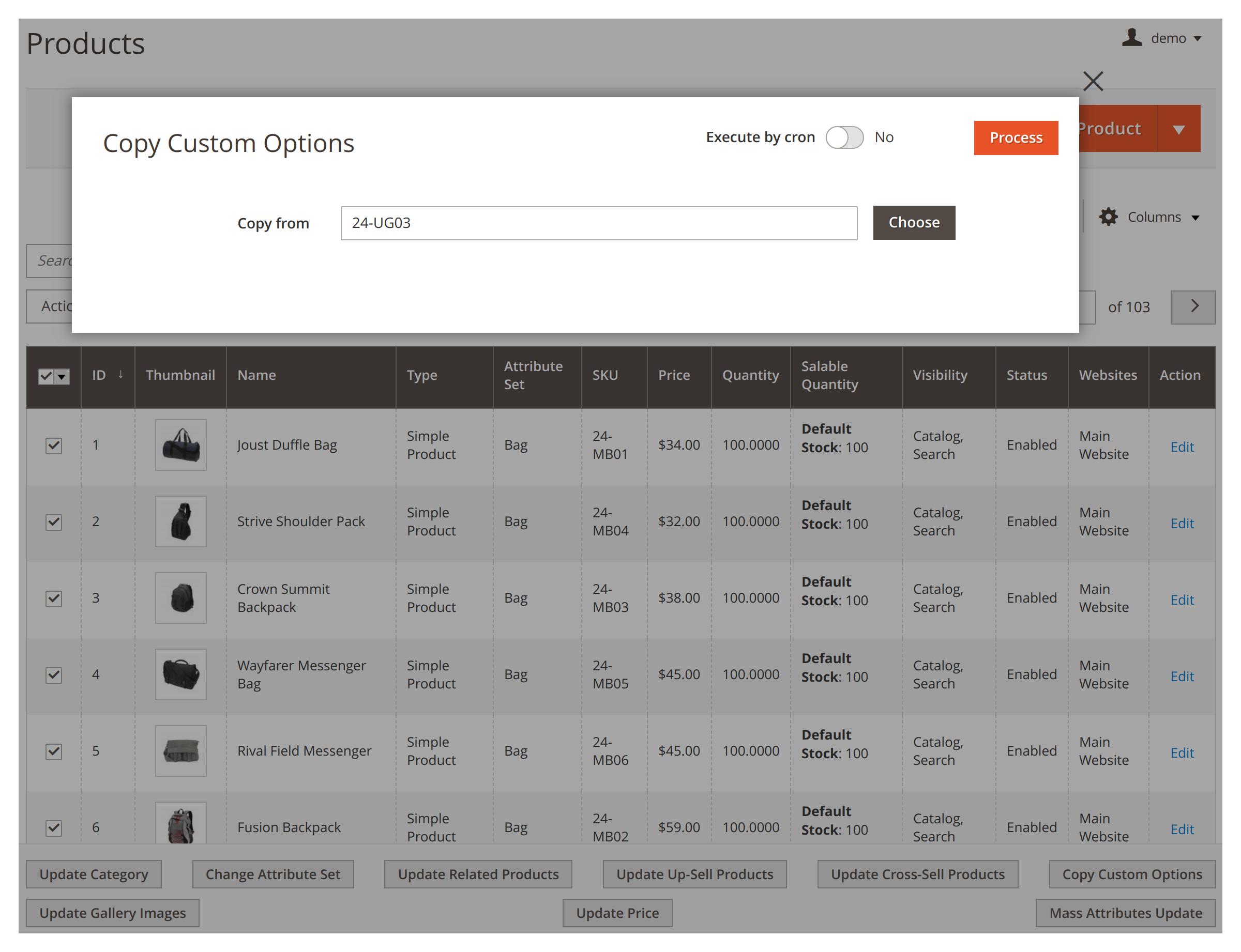 Copying custom options in bulk in Mirasvit Mass Product Actions Magento 2 module.