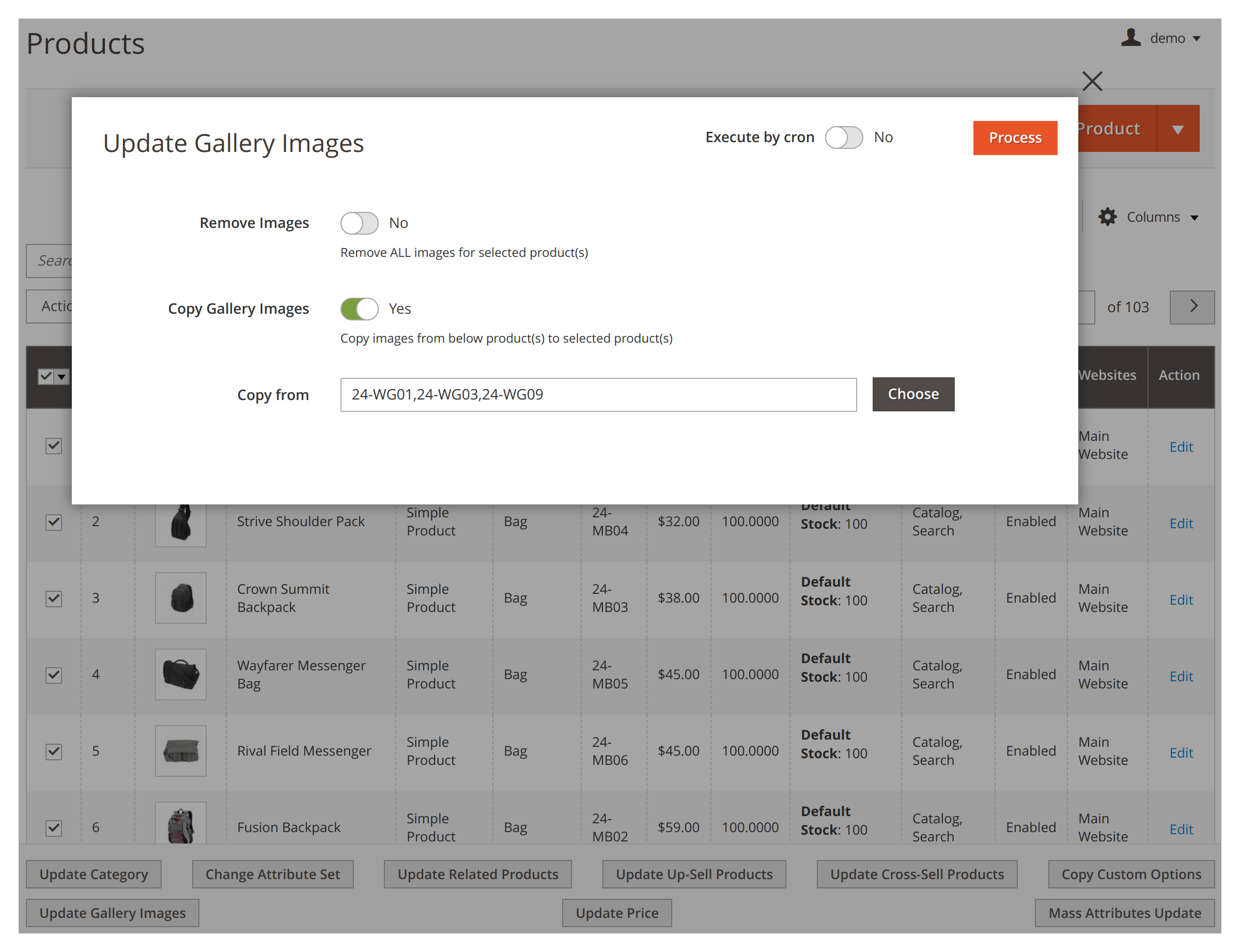 Copying gallery images in bulk in Mirasvit Mass Product Actions Magento 2 extension.
