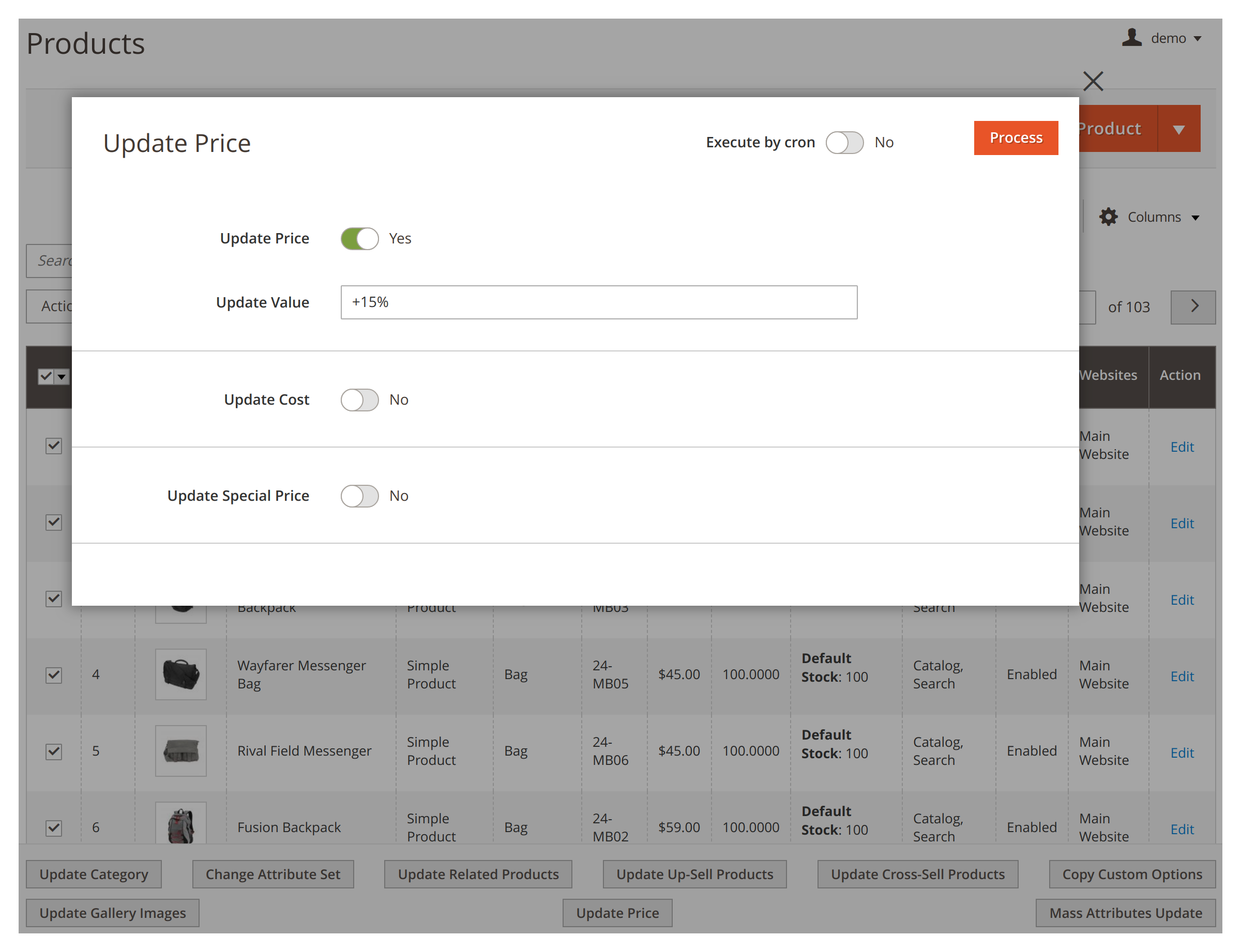 Changing price in bulk in Mirasvit Mass Product Actions Magento 2 module.