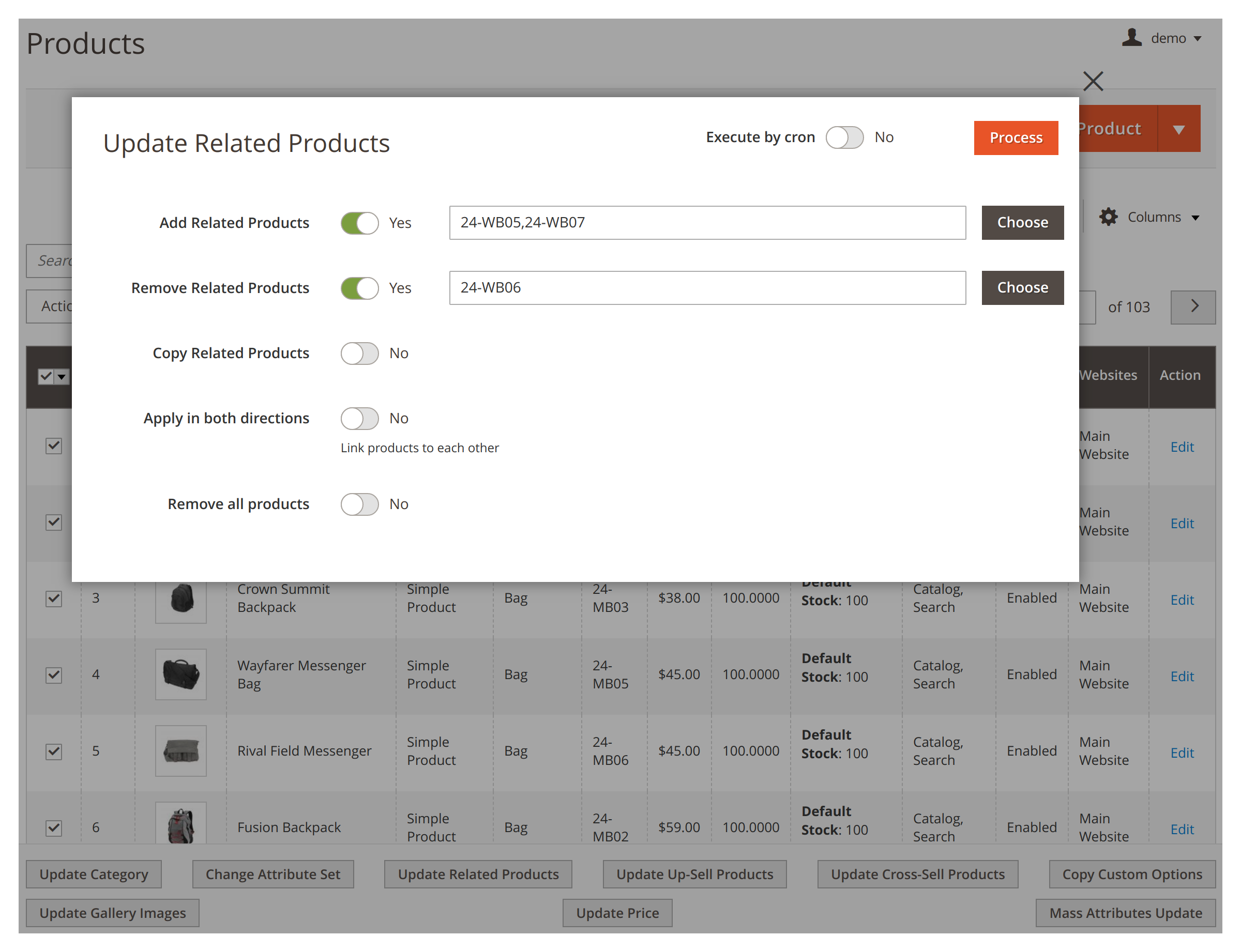 Updating related products in bulk in Mirasvit Mass Product Actions Magento 2 module.