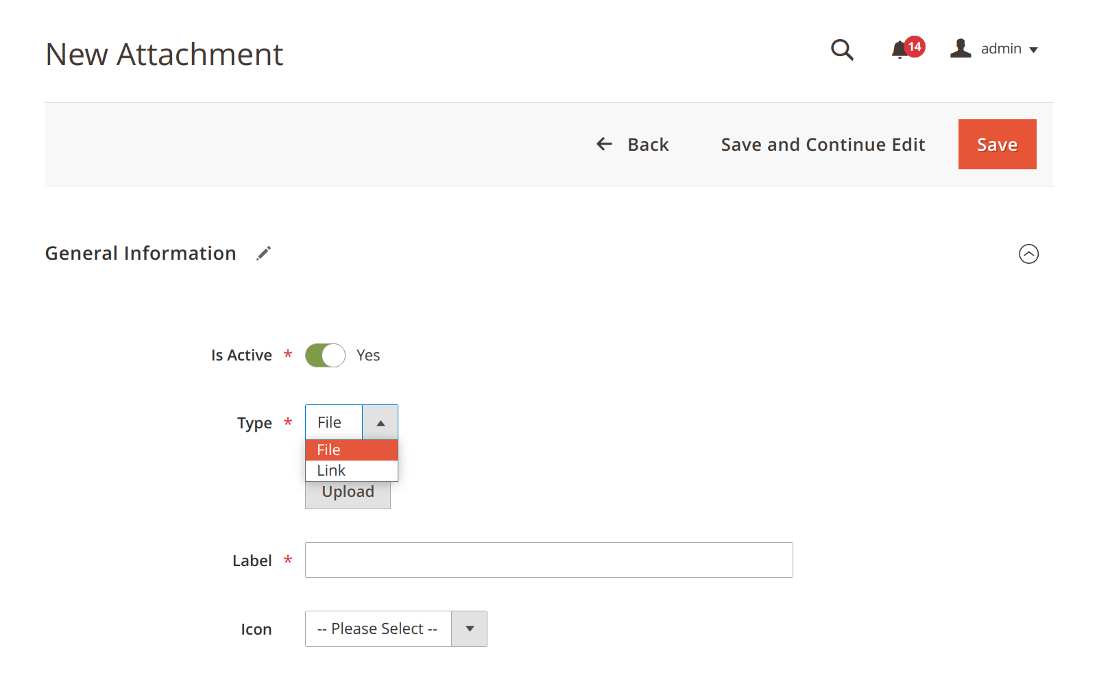 Choosing between a file or a URL attachment in Mirasvit Product Attachment Magento 2 extension