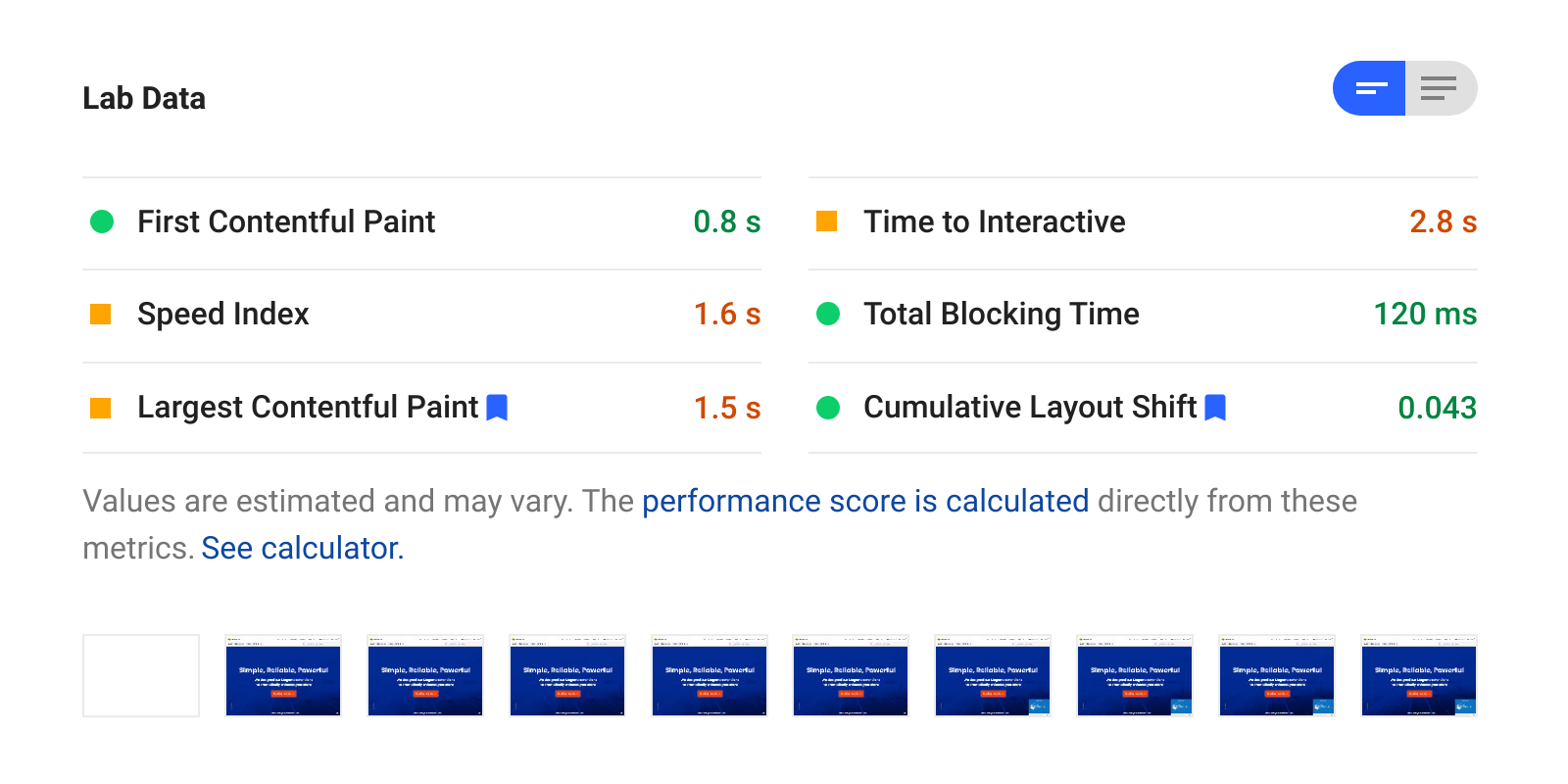 Lab Data section in Google PageSpeed Insights