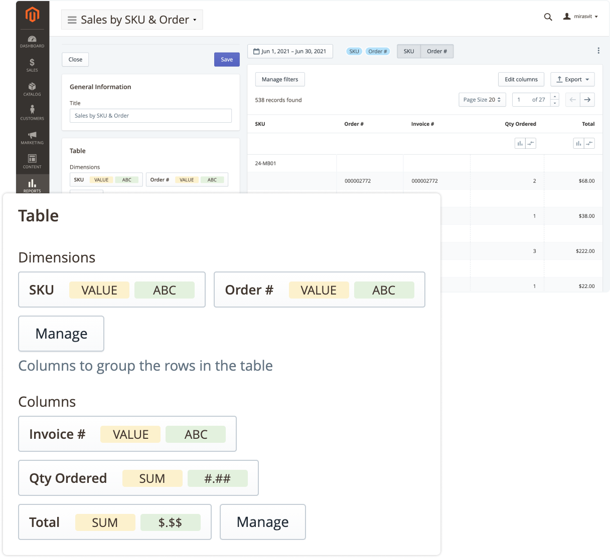 Report builder in Mirasvit Advanced Reports Magento 2 extension