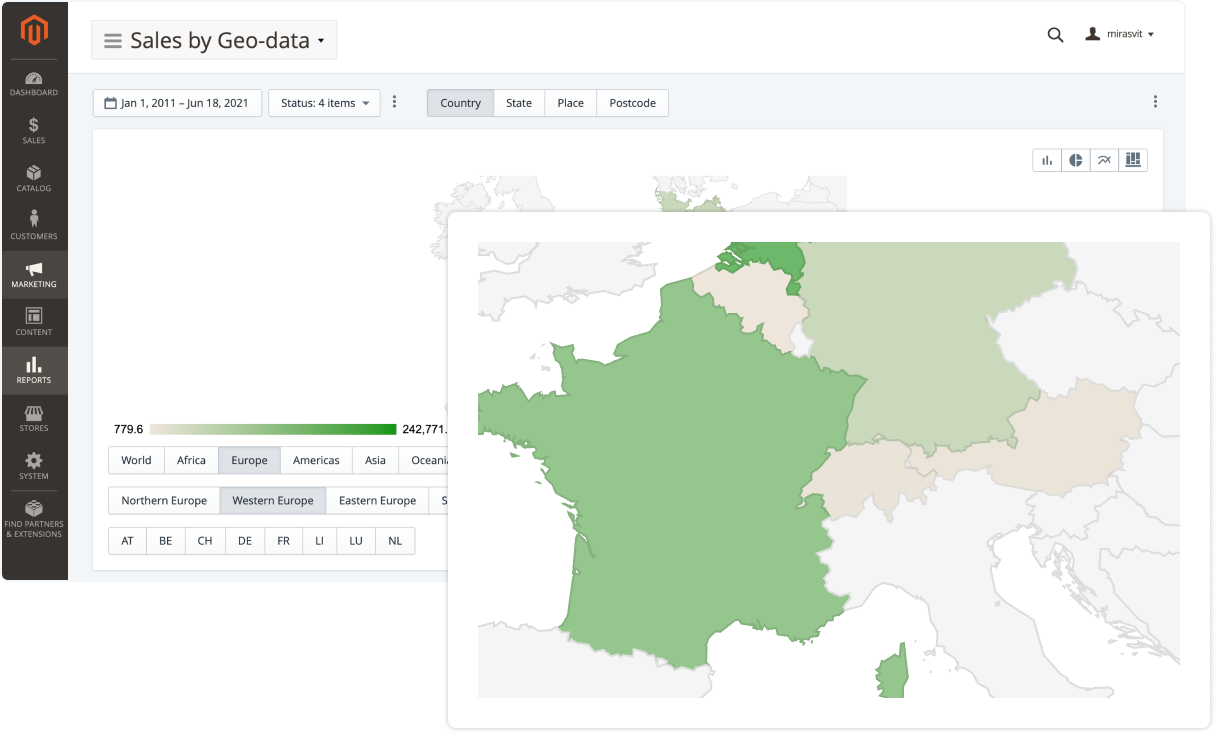 Report showing sales by geodata in Mirasvit Advanced Reports Magento 2 extension