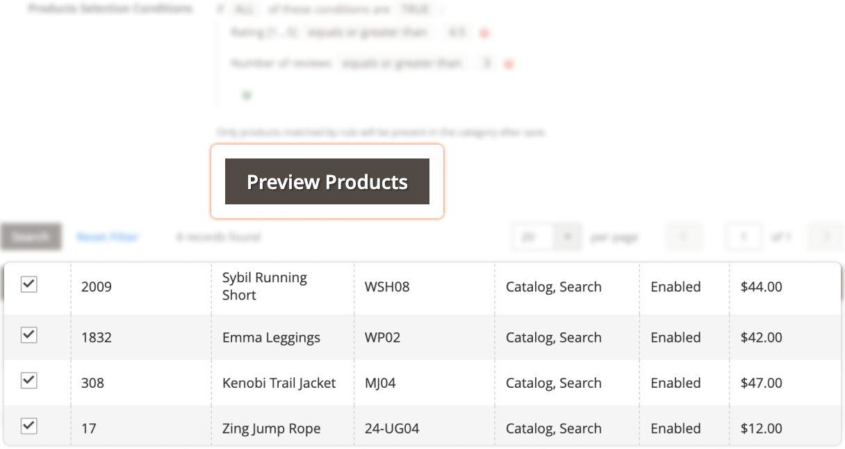 Previewing the category products in Mirasvit Dynamic Categories Magento 2 extension